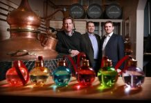 Left to right are Marcus Pickering and Matthew Gammell of Summerhall Distillery, producers of Pickering's Gin, and Stuart Lunn of LendingCrowd (1) (by Stewart Attwood)
