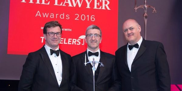(left-right) Julian Yarr, Managing Partner, A&L Goodbody, and a member of the judging panel; Stephen Goldie, Head of Litigation, Brodies LLP; and awards compère Dara Ó Briain